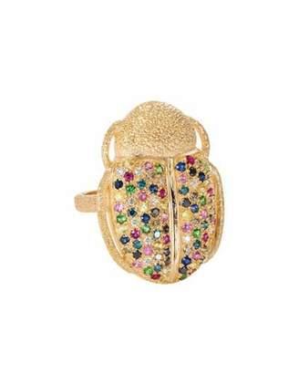 Carolina Bucci 18k Gold Scarab Multi-Stone Ring, Size 6