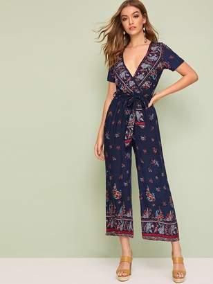 Shein Floral Print Surplice Neck Belted Wide Leg Jumpsuit