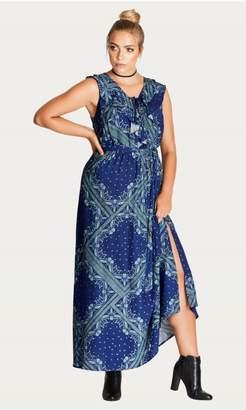 City Chic Citychic Blue Patchwork Maxi Dress