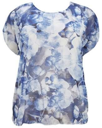 Evans Pale Blue Printed Cape Top