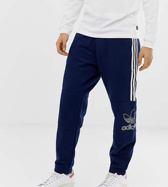 adidas trefoil outline joggers in navy