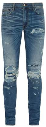 Amiri Extreme Distress Slim Leg Jeans - Mens - Blue
