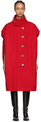 Raf Simons Red Sleeveless Couture Coat