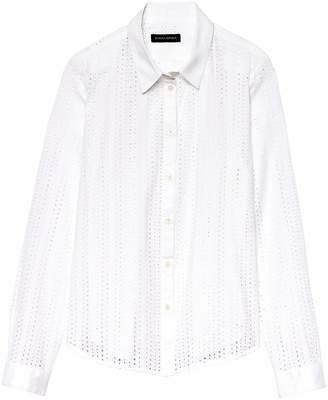 Banana Republic Petite Quinn Boy-Fit Eyelet Shirt