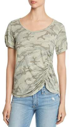 Red Haute Ruched Camo Top