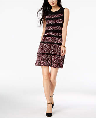 Michael Kors Panelled Leaf-Print Dress