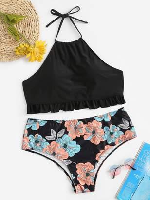 Shein Plus Ruffle Halter Top With Floral Bikini