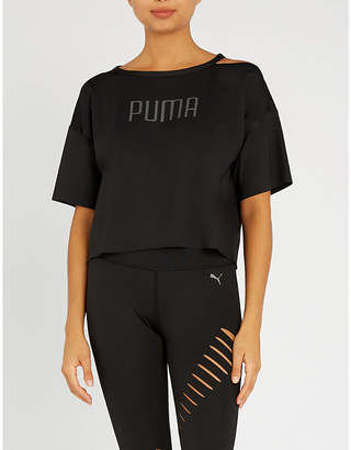 Puma Explosive cold-shoulder stretch-jersey T-shirt