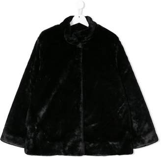 Douuod Kids TEEN faux-fur logo jacket