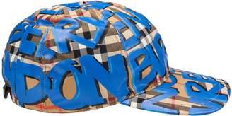 Burberry Graffiti Print Check Baseball Cap