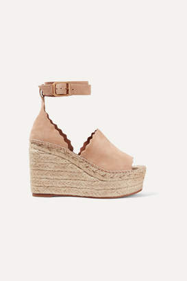 Chloé Scalloped Suede Espadrille Wedge Sandals - Beige
