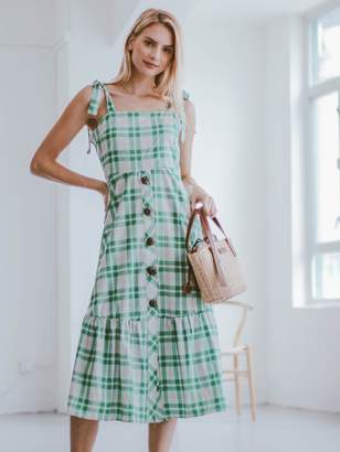 Goodnight Macaroon 'Galia' Green Gingham Buttoned Shoulder Strap Midi Dress