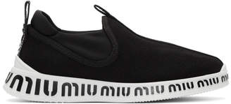 Miu Miu Black Slip-On Sneakers