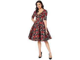 Unique Vintage 1950s Delores Swing Dress with Sleeves