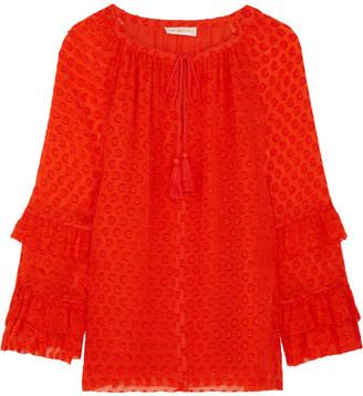 Tory Burch - Madison Fil Coupé Silk-blend Blouse - Orange $295 thestylecure.com