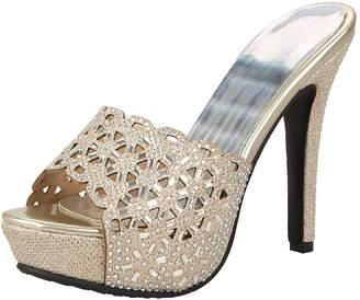 Artfaerie Women's Platform High Heels Slingback Mules Peep Toe Slippers Evening Party Summer Pumps