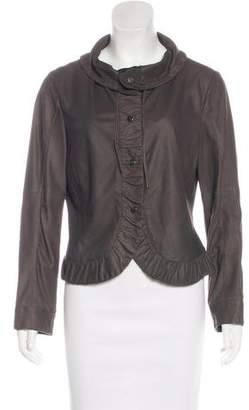 Armani Collezioni Leather Cowl Jacket