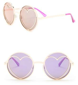 Betsey Johnson Round Heart Cutout Lens Sunglasses