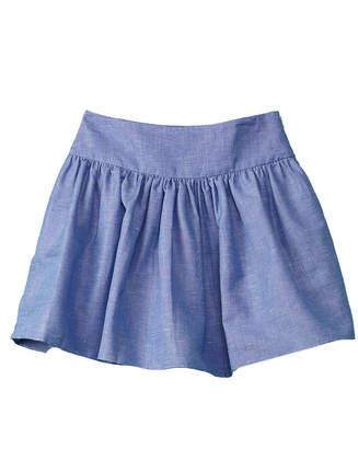 Milly Minis Chambray Linen-Blend Skirt