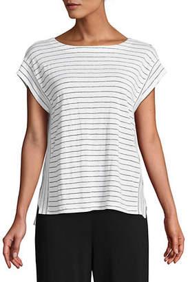 Eileen Fisher Striped Linen Caftan Top