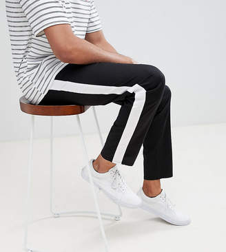 Asos DESIGN Tall slim cropped pants with side stripe in black