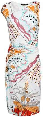 Roberto Cavalli Ruched Appliqued Printed Crepe Dress