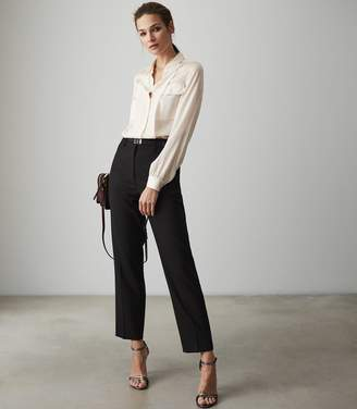 Reiss INDRA SILK TWIN POCKET BLOUSE Off White