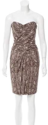 Michael Kors Strapless Snakeskin Print Dress