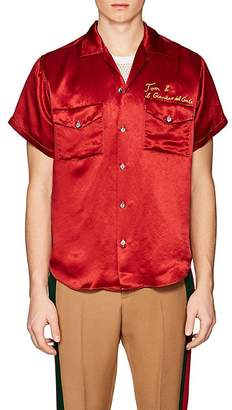 Gucci Men's Chain-Stitched Satin Shirt
