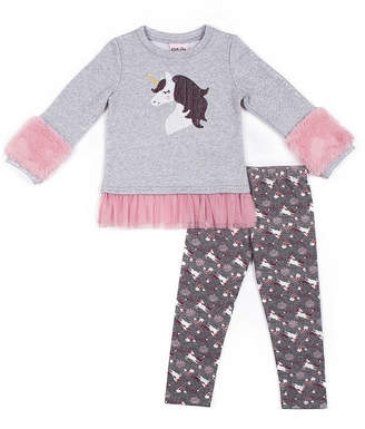 Little Lass Long Sleeve Unicorn Legging Set - Preschool Girls