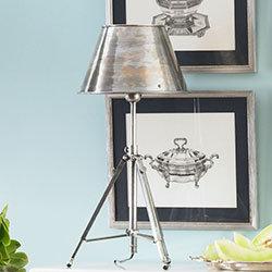 Shaded Metal Tripod Lamp