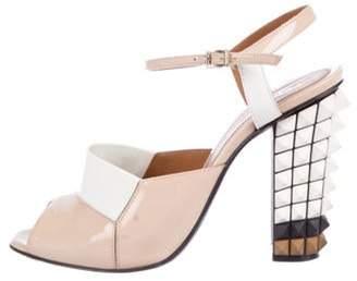 Fendi Patent Leather Studded Sandals Beige Patent Leather Studded Sandals