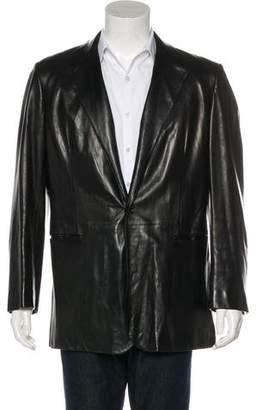 Prada Leather One-Button Jacket