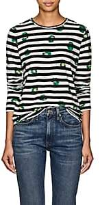 Proenza Schouler Women's Floral & Striped Cotton T-Shirt - Blk, Wht