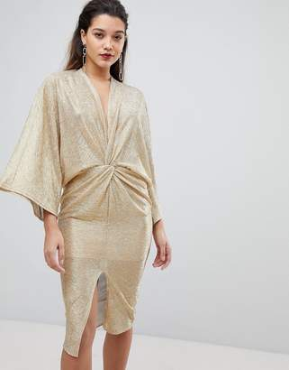 Flounce London Wrap Front Kimono Midi Dress in Gold