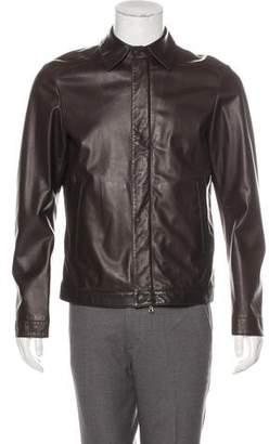 Isaia Leather Zip-Up Jacket