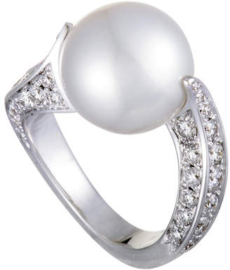 Mikimoto 18K 1.20 Ct. Tw. Diamond & 11Mm Pearl Ring