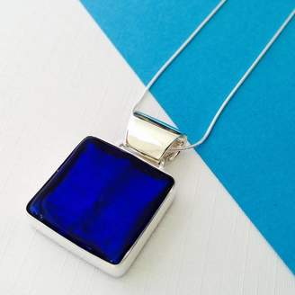 Murano Claudette Worters Silver Pendant With Glass Square
