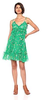 The Kooples Women's Floral V-Neck Spaghetti Strap Dress with Front Ruffles
