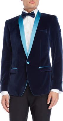 Dolce & Gabbana Blue Velvet Tuxedo Jacket