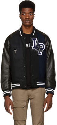 Reese Cooper Black and Navy Split Varsity Bomber Jacket