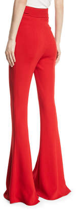 Cushnie High-Waist Flared-Leg Pants with D-Ring Buckle