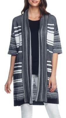 Joan Vass New York Block Striped Open Front Cardigan