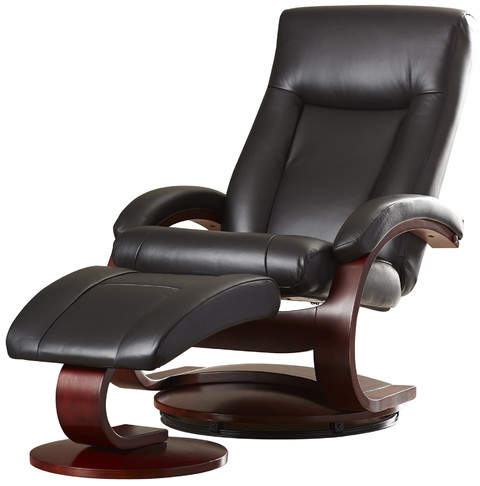 Red Barrel Studio Flathead Lake 54 Series Leather Ergonomic Recliner and Ottoman