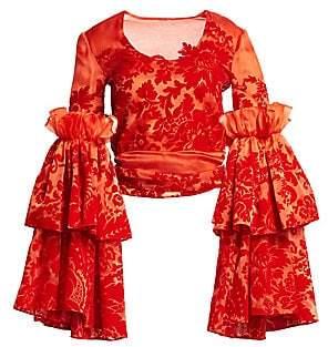 Rosie Assoulin Women's Flocked Silk Organza Top