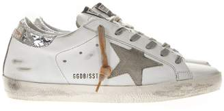 Golden Goose White Leather Superstar Sneakers Lurex And Suede Inserts