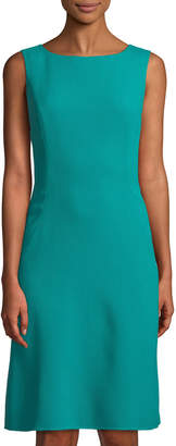 Oscar de la Renta Sleeveless Pleat-Back Wool Boat-Neck Dress