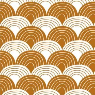 Swedish Linens - Cinnamon Brown Cotton Rainbows Fitted Crib Bed Sheet - cotton | Cinnamon Brown - Brown/Brown