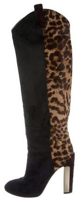 B Brian Atwood Multicolor Leopard Print Boots $145 thestylecure.com