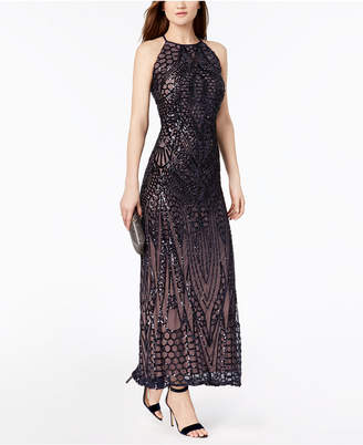Night Way Nightway Sequined Strappy-Back Halter Gown